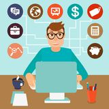 Vector self employed man in flat style. Sitting at computer and working on freelance project - infographic with icons and signs Royalty Free Stock Photos