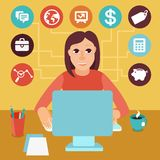 Vector self employed woman in flat style Stock Image