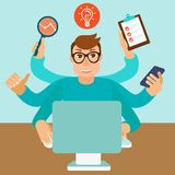 Vector self employment concept in flat style. Multitasking man working on different projects from his home office Royalty Free Stock Photography