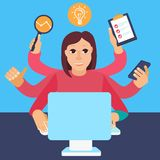 Vector self employment concept in flat style. Multitasking woman working on different projects from her home office Stock Images