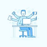 Vector self employment concept in trendy flat linear style. Multitasking freelancer - man working on different projects from his home office royalty free illustration