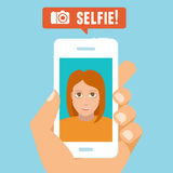Vector selfie concept Stock Photo