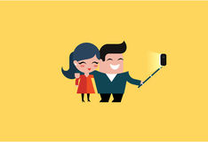Vector selfie couple Royalty Free Stock Images