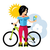 Vector Selfie Girl. Flat style colorful Cartoon illustration. Stock Photo