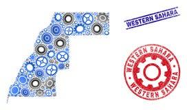 Vector sellos occidentales de Sahara Map del collage de los mecánicos y del Grunge stock de ilustración