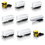 Vector semi-trailers icons set Stock Photos