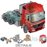 Vector semi-truck Stock Images