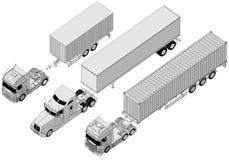 Vector semi-vrachtwagenreeks Stock Afbeeldingen