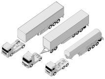 Vector semi-vrachtwagenreeks Royalty-vrije Stock Fotografie