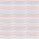Abstract hand drawn red, white, blue brush stoke repeating patte. Vector semless pattern with red and blue watercolor brush strip on white background. Abstract vector illustration
