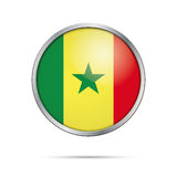 Vector Senegalese flag button. Senegal flag in glass button  Stock Image