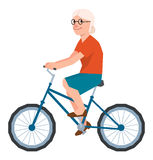 Vector senior woman in the style of low polygon poly rides a bic