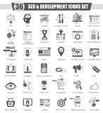 Vector SEO and development black icon set. Dark grey classic icon design for web. Royalty Free Stock Photo