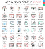 Vector SEO and development ultra modern color outline line icons for apps and web design. vector illustration