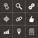 Vector seo icon set. On black background Stock Photography