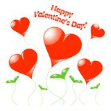 Vector separated growing heart on white with grass, Valentines Day vector background. Royalty Free Stock Image