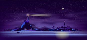 Vector septentrional de la historieta del paisaje de la noche de la costa ilustración del vector