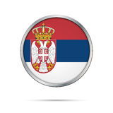 Vector Serbian flag Button. Serbia flag in glass button style. Royalty Free Stock Image