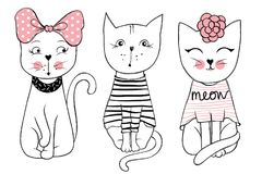 Vector series with cute fashion cats. Stylish kitten set. Trendy illustration in sketch style  t-shirt print, cards, poster. Doodle Kitty. Kids animals. Funny Stock Photos