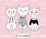Vector series with cute fashion cats. Stylish kitten set. Trendy. Illustration in sketch style  t-shirt print, cards, poster. Doodle Kitty. Kids animals. Funny Stock Images