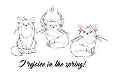 Vector series with cute spring cats. Stylish kitten set. Stock Photo