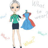 Vector seriousl fashion girl top model trying on dresses Stock Photo