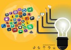 Vector a sessão de reflexão do homem de negócios para do bulbo moderno das tecnologias de comunicação das ideias o projeto liso m Foto de Stock