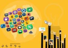 Vector a sessão de reflexão do homem de negócios para do bulbo moderno das tecnologias de comunicação das ideias o projeto liso m Imagem de Stock