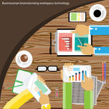 Vector a sessão de reflexão e a reunião do homem de negócios sobre a tabela de madeira Foto de Stock