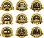 Vector set of 100% guarantee golden labels. 100% guarantee golden labels collection stock illustration