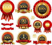 Vector set of 100% guarantee golden labels. 100% guarantee red and golden labels Royalty Free Stock Photography