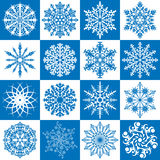Vector set of 16 snowflakes. Vector set of 16 blue and white snowflakes Royalty Free Stock Photos