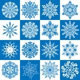 vector set of 16 snowflakes Royalty Free Stock Photos