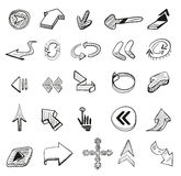 Vector set: 25 hand drawn arrows. 25 hand drawn arrows. Vector design elements set Royalty Free Stock Image