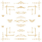 Vector set. Of gold decorative horizontal floral elements, corners, borders, frame, crown. Page decoration Royalty Free Stock Photos