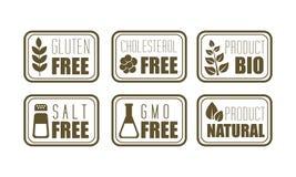 Vector set of 6 allergen free emblems gluten, cholesterol, salt, GMO . Symbol of natural product. Food intolerance Stock Photos