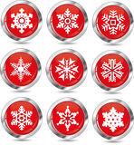 Vector set of 9 snowflakes Royalty Free Stock Photo