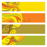 Vector set with abstract autumn banners with dotted swirls  on white. Stock Images