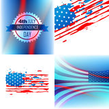 Vector set of abstract background of american independence day Stock Photos