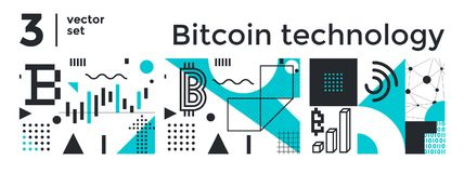 Vector Set Abstract Background Bitcoin Technology Royalty Free Stock Photography