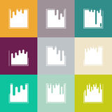 Vector set with abstract background with paint pouring around square Stock Photo