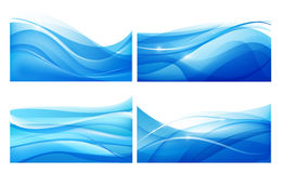 Vector set of abstract blue wavy background. Water, flow. Stock Images