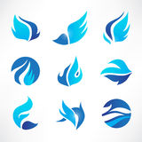 Vector set of abstract blue wings, flow, water Royalty Free Stock Photos