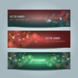Vector set of abstract bokeh banners. Vector set of abstract colorful bokeh banners Royalty Free Stock Photos