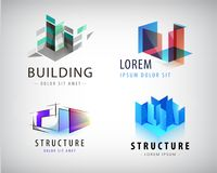 Vector set of abstract building and structure logos Royalty Free Stock Images