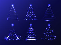 Vector set of abstract Christmas trees Royalty Free Stock Photography