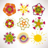 Vector set Abstract circular patterns labels for cards design Stock Image