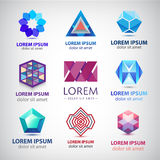 Vector set of abstract colorful 3d logos, icons. Crystal, sphere, origami signs Royalty Free Stock Photography
