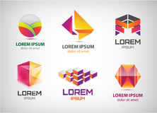 Vector set of abstract colorful 3d logos, icons Stock Photo