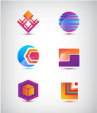 Vector set of abstract colorful icons, logos Royalty Free Stock Photography